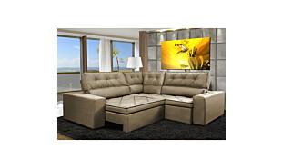 0 - Sofa de Canto Retrátil e Reclinável com Molas Cama inBox Aust