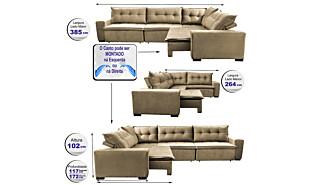 0 - Sofa de Canto Retrátil e Reclinável com Molas Cama inBox Okla