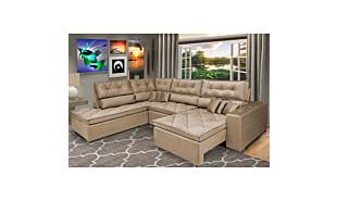 0 - Sofa de Canto Retrátil e Reclinável com Molas Cama inBox Plat