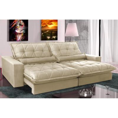 0 - Sofa Retrátil e Reclinável 2,12m com Molas Ensacadas Cama inB